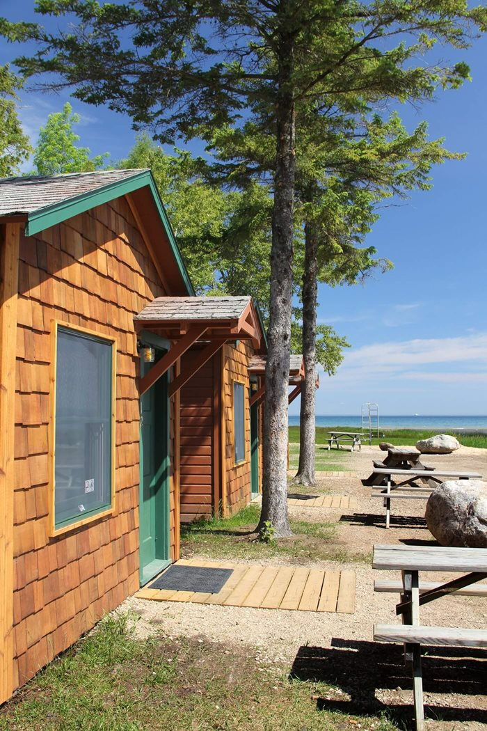 Exterior view of a two person cabin at Mackinac Lakefront Cabin Rentals in Mackinaw City, MI. © 2013 Frank Rogala.