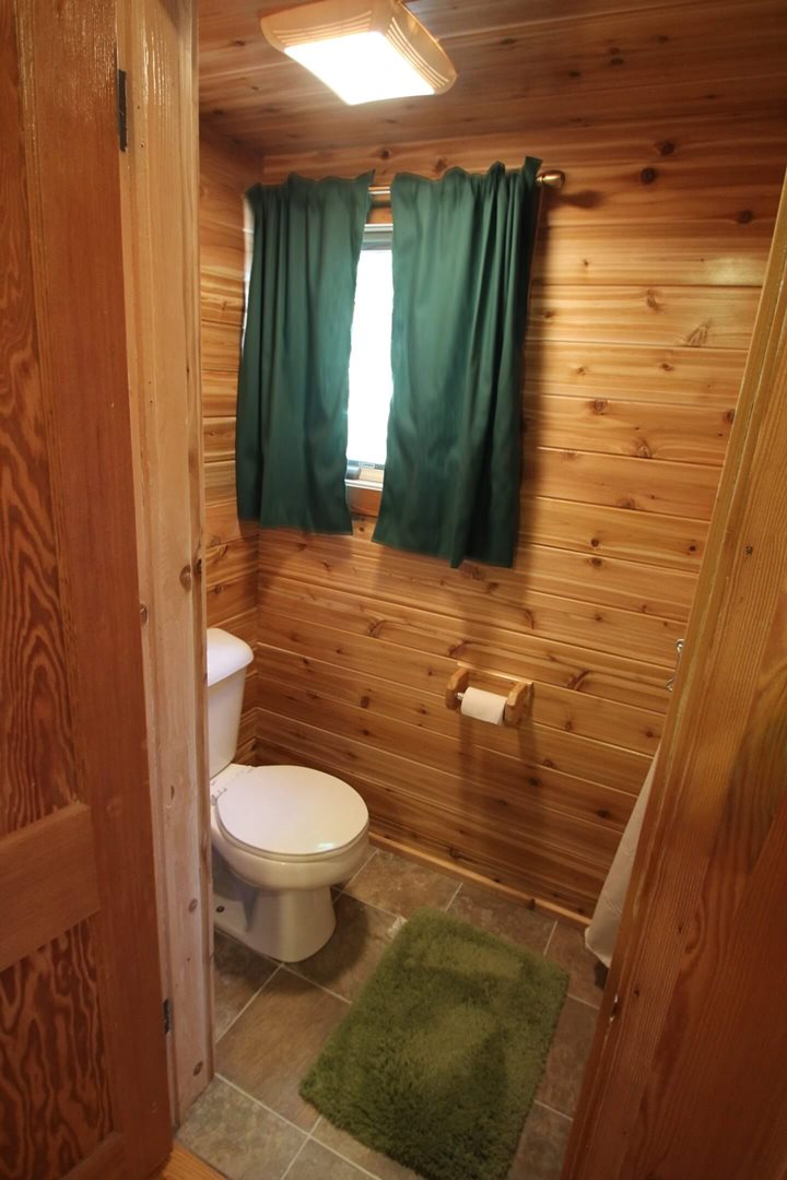 Bathroom in a three person cabin at Mackinac Lakefront Cabin Rentals in Mackinaw City, MI. © 2013 Frank Rogala.