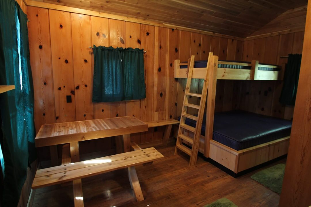Interior view (angle 1) of a three person cabin at Mackinac Lakefront Cabin Rentals in Mackinaw City, MI. © 2013 Frank Rogala.