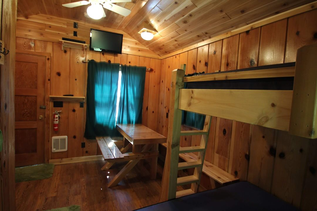 Interior view (angle 2) of a three person cabin at Mackinac Lakefront Cabin Rentals in Mackinaw City, MI. © 2013 Frank Rogala.