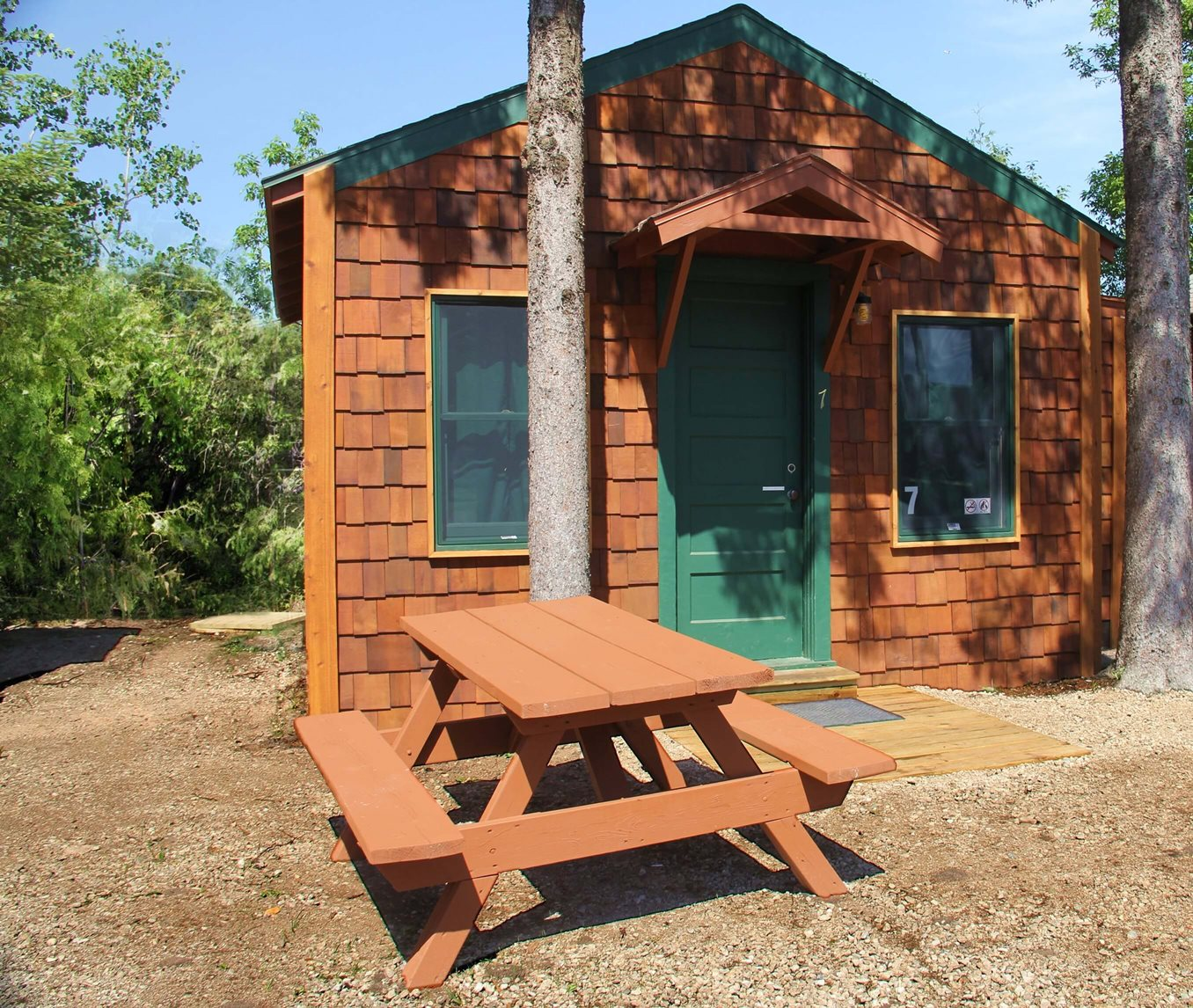 Exterior view of a six person cabin at Mackinac Lakefront Cabin Rentals in Mackinaw City, MI. © 2013 Frank Rogala.