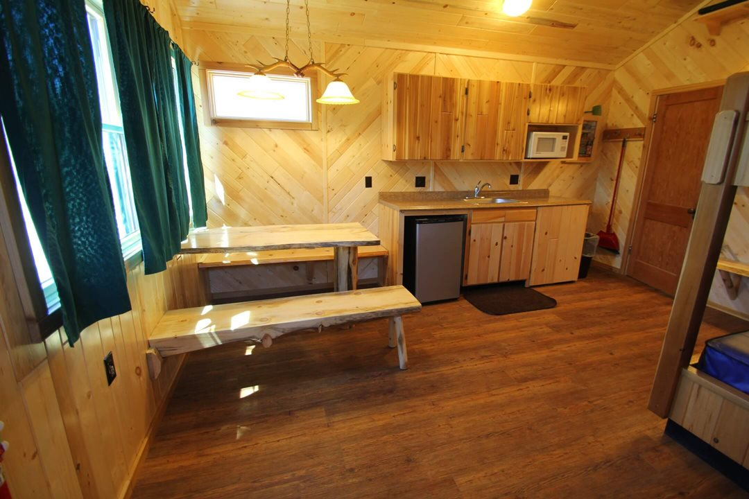 Interior view (angle 2) of a four person cabin at Mackinac Lakefront Cabin Rentals in Mackinaw City, MI. © 2017 Frank Rogala.