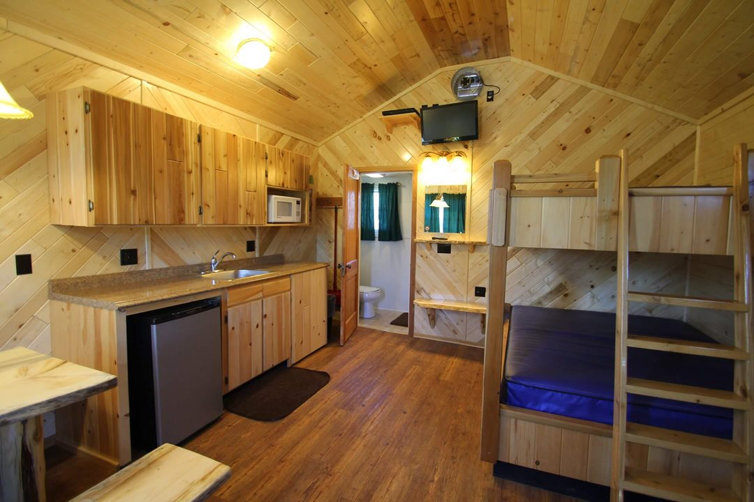 Interior view (angle 6) of a four person cabin at Mackinac Lakefront Cabin Rentals in Mackinaw City, MI. © 2017 Frank Rogala.